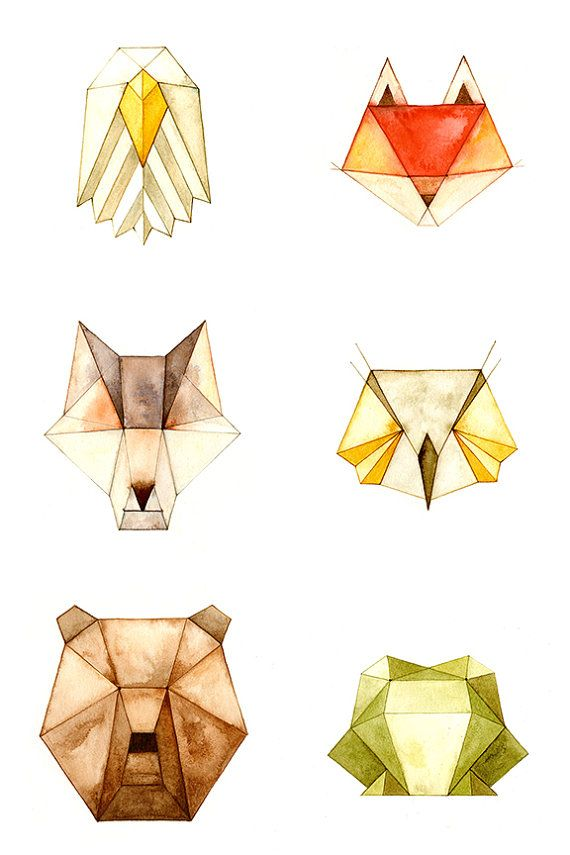 Geo Series - Bear, Wolf, Fox, Frog, Eagle and Owl    Choose your three favorites! Just let me know in your order which ones youd like to