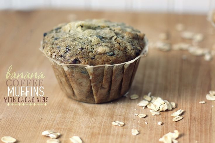 banana coffee muffins with cacao nibs and oatmeal