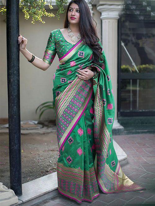 d03166fb69327 Green Colored Beautiful Branded Weaving Silk Saree - Midhusha in ...