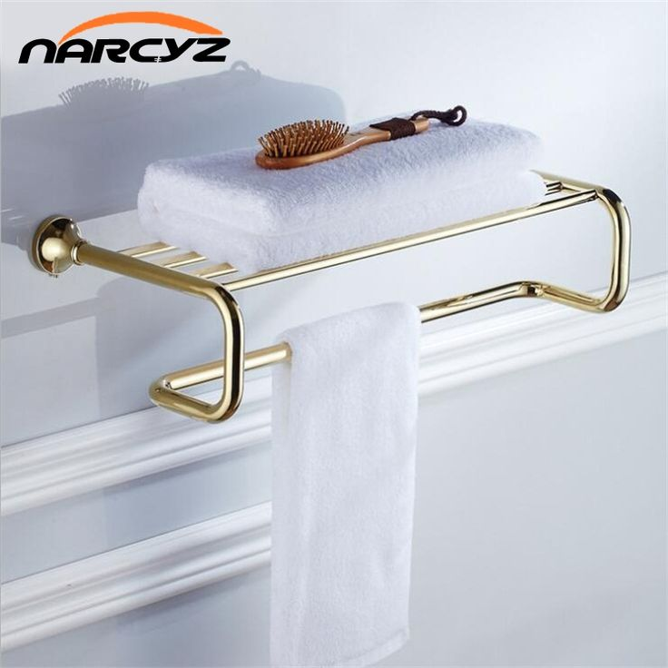 Free Shipping Bathroom hard ware pendant gold - plated copper bath towel rack 9026K