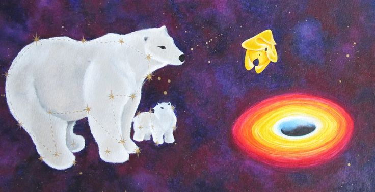 Sofia Filea www.facebook.com/sofiafileasart illustration, christmas, star, bethlehem start, jesus birth, polar bear, ursa major, black hole, scared