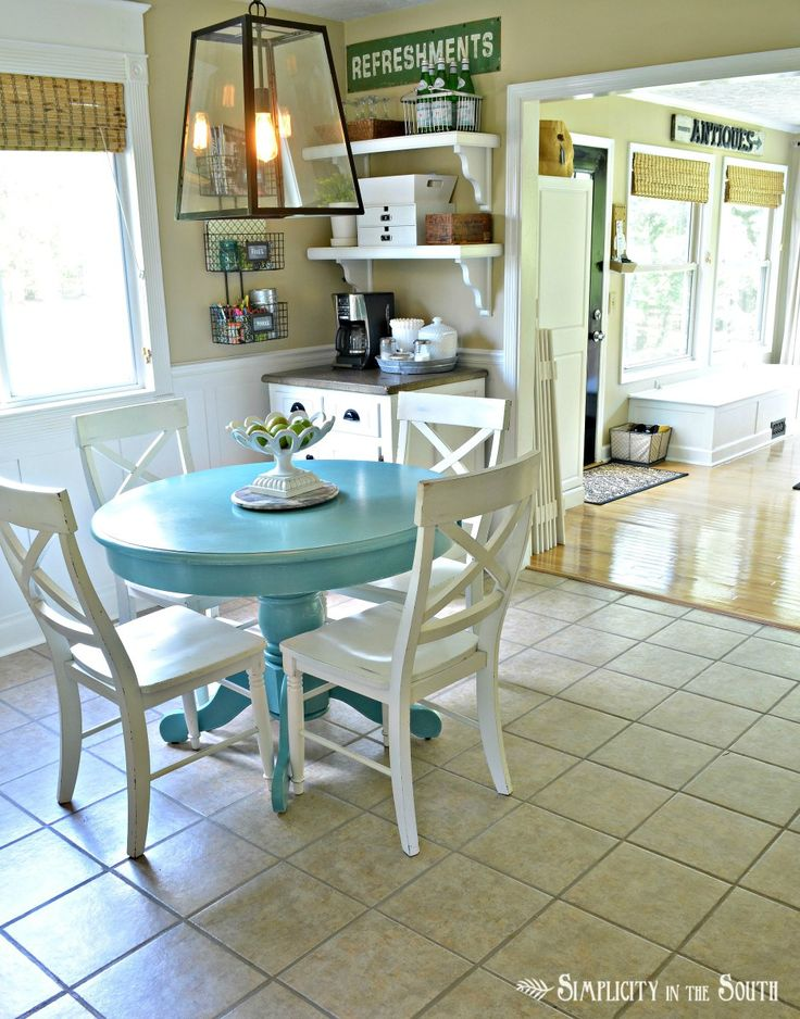 Kitchen table painted with Annie Sloan Chalk Paint in Provence Blue