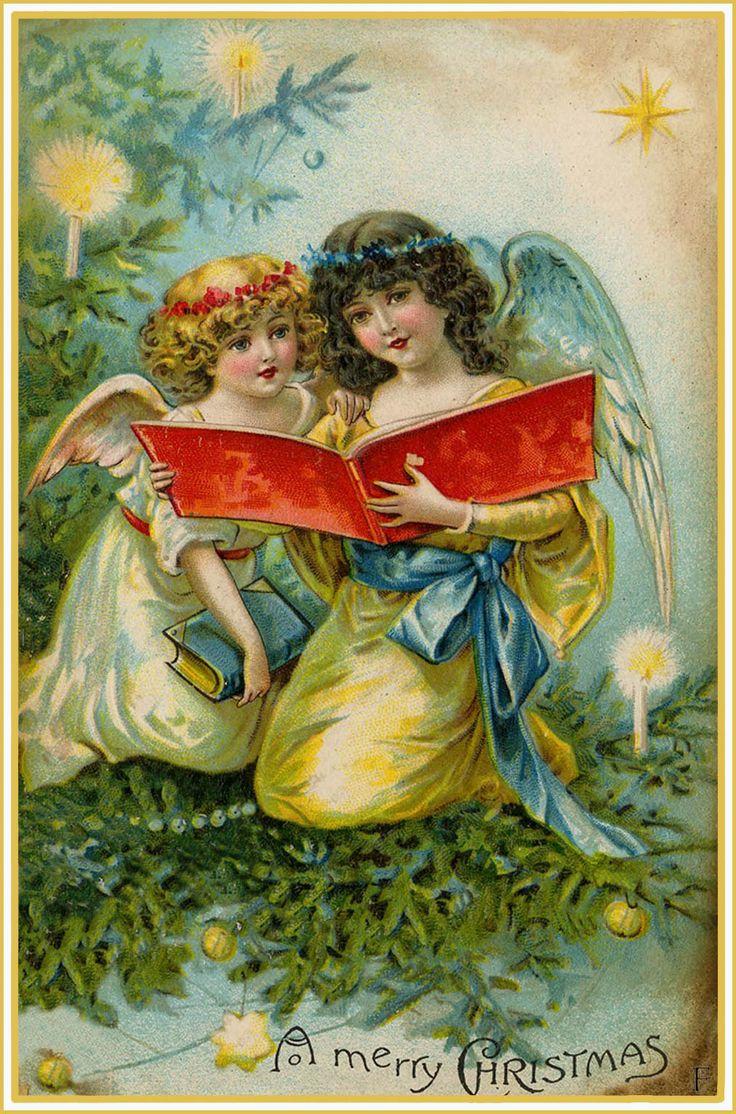 Angels Singing Christmas Vintage Christmas Card Singing