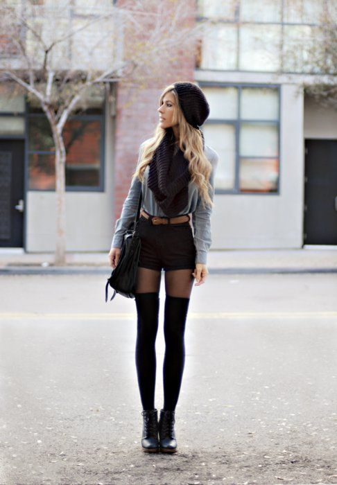 My knee highs never stay up, but love this: Knee High, Long Legs, Fashion, Fall Style, Outfit, Thigh Highs, Shorts, Tights, Thighs High Socks