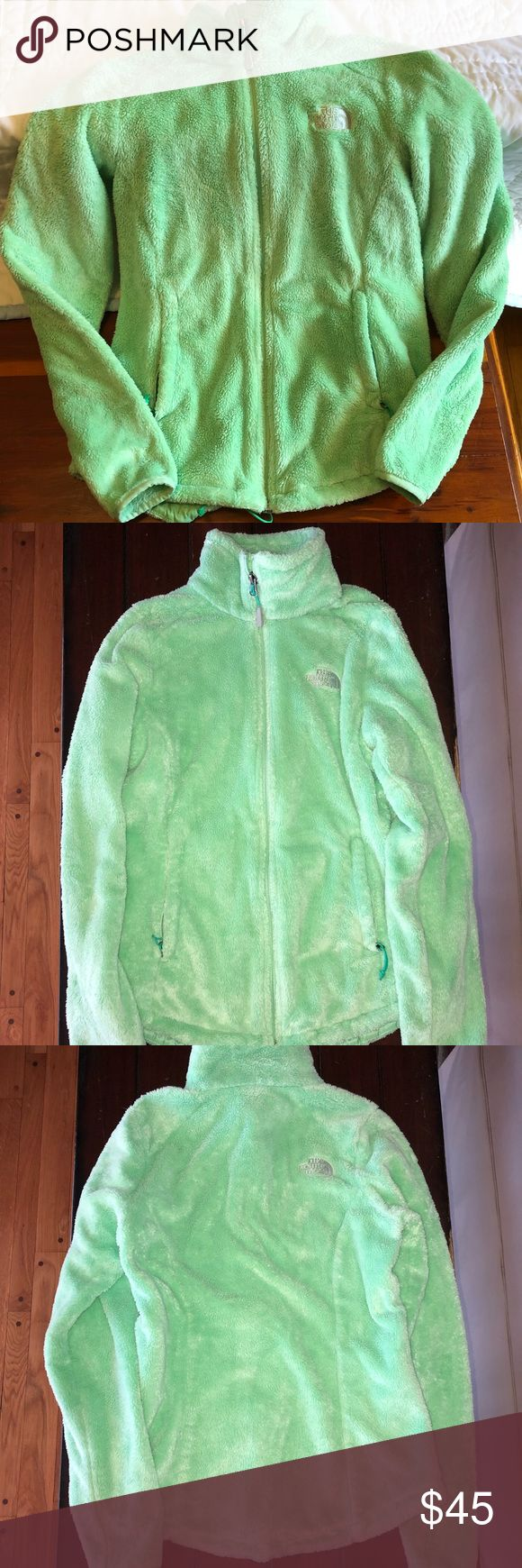 Women's North Face XSmall Fuzzy Fleece Jacket Super cute in lime green!! Gently worn with no holes, rips, or stains. Fuzzy fleece 100% Polyester. All zippers work. 2 outside pockets for hands and 2 inside pockets for extra storage. No flaws. Make an offer! North Face Jackets & Coats