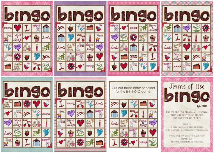 Valentine's Day BINGO Game ~ 5 cards  Great fun for a Valentine's Day party!