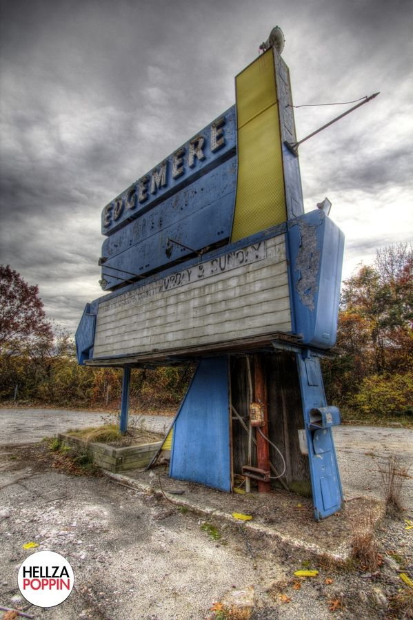 """""""Abandoned Drive-In"""" -- [Edgemere Drive-In - Highway 20, Shrewsbury, Worcester County, Massachusetts. Opened 1955 & closed in 2000. It almost was replaced with a Home Depot. It reopened in 2002 but has been abandoned since 2004. It had 1 screen with a 1000 car capacity & FM sound.]~[Photograph by Stacey Bouley - October 25 2012]'h4d-289.2013'"""