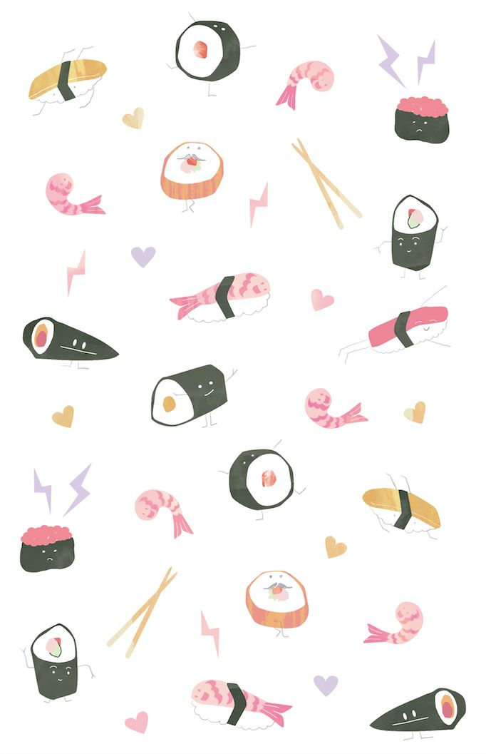 Sushi Illustration Cellphone WallpaperLock Screen WallpaperFish Wallpaper IphoneIphone IllustrationJapanese