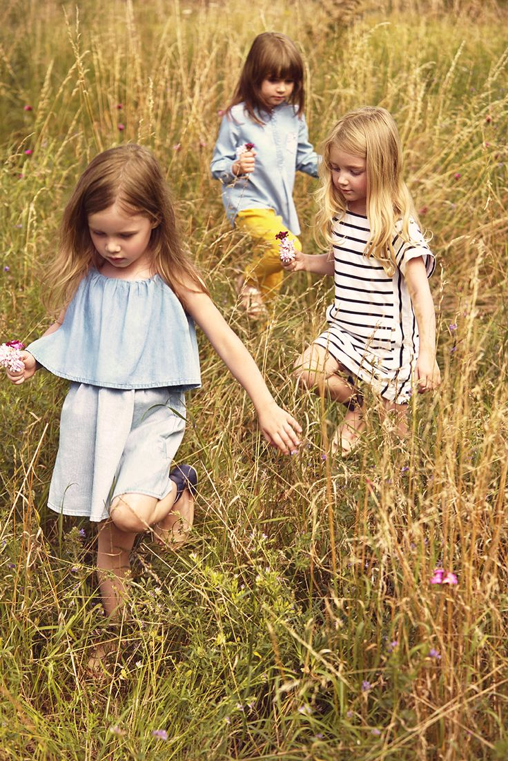 The softest chambray loose dresses are easy to wear from Chloe kidswear for spring 2015 girls fashion