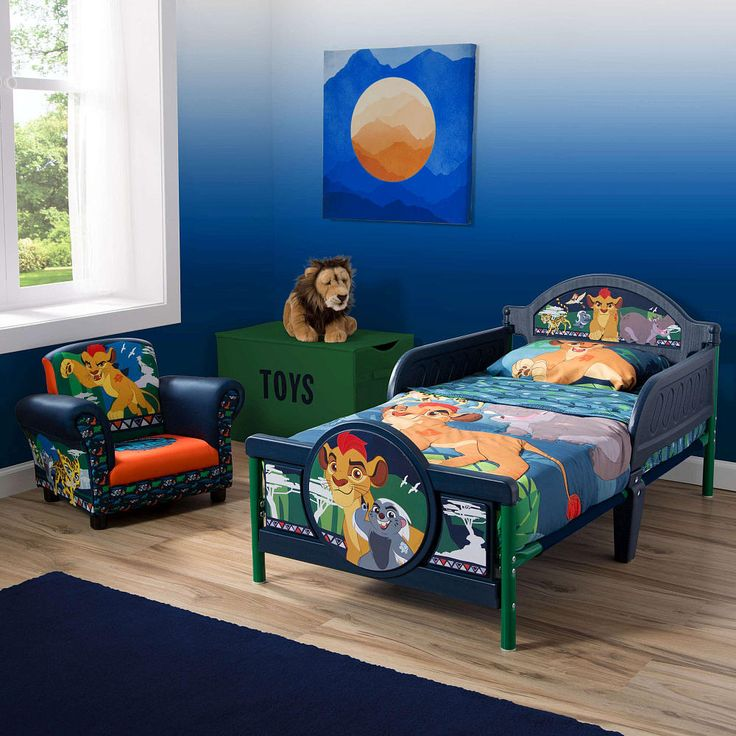 Your pride and joy will be on the prowl for nightly adventures in dreamland with this Disney Jr. The Lion Guard 3D Toddler Bed from Delta Children. Featuring adorable 3D accents and decals of Kion, Bunga, Fuli, Beshte and Ono, it transports any bedroom into a magical world. Designed to keep your child safe, this sturdy plastic toddler bed is built low to the ground and features two attached guardrails for additional reassurance. Plus, it's the perfect kid-sized height, and allows children…
