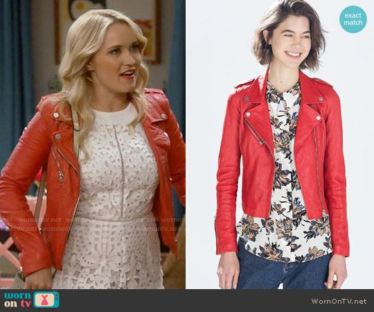 58604522d801 Gabi s white lace romper and red leather jacket on Young and Hungry ...