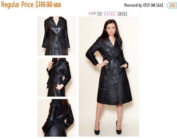 40% Off Xmas Sale Leather Coat, 90's Sexy Vintage Coat, Classic Style Jacket, Vintage Woman's Clothing Size L / 40 Gift idea for her, Free S by SixVintageChicks on Etsy