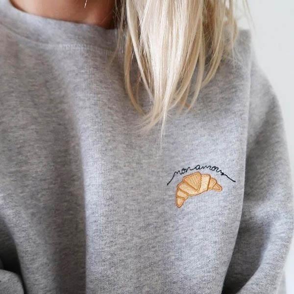 Croissant Sweatshirt embroidered sweatshirt