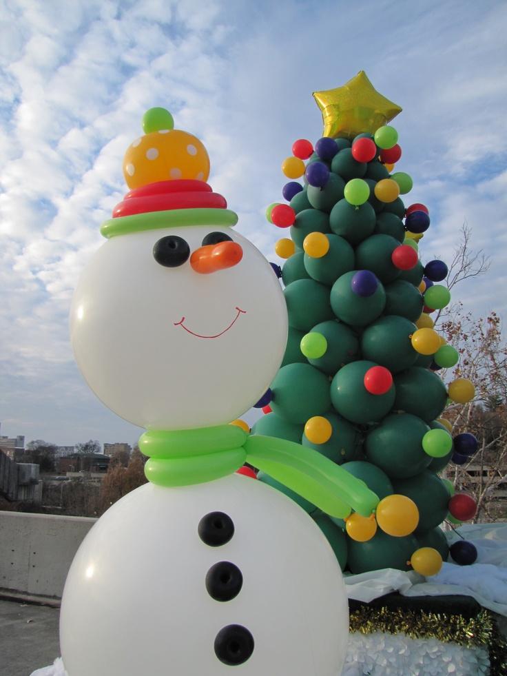 Mu eco de nieve y rbol de navidad hechos con globos - Arbol navidad nieve ...