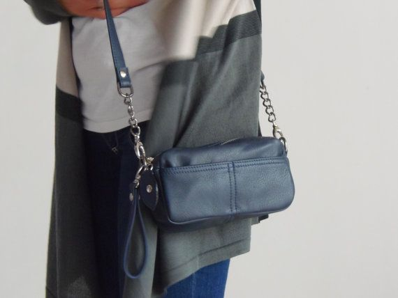 Small leather purse  in navy blue