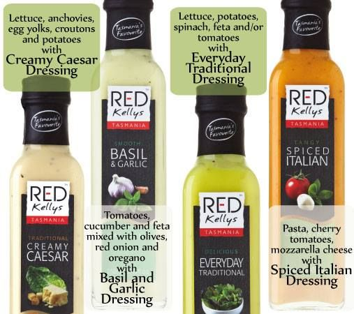 With so many salad dressing varieties, it's hard to know which Red Kellys Tasmania dressing goes best with your dinner. This guide is a useful start: http://goo.gl/C1Yzih