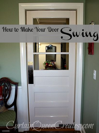 How to Make Your Door Swing! - I had a plan all along for the antique door I restored, and it included making a swinging door from our kitchen into the hallway.…