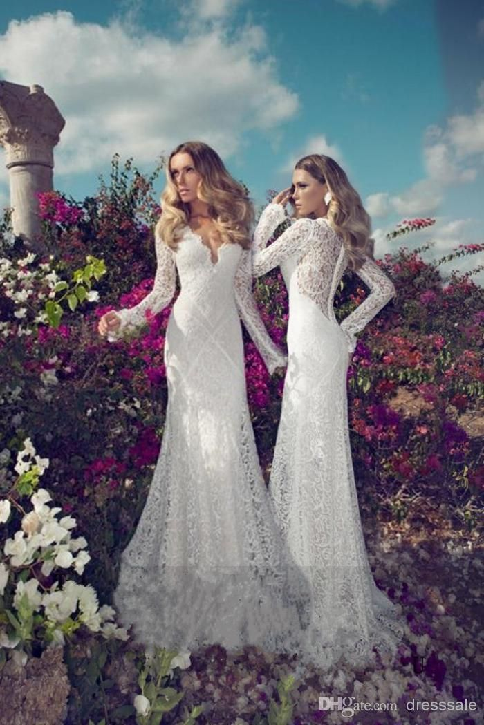 Wholesale A-Line Wedding Dresses - Buy - Diva Design Long Sleeve Lace Wedding Dresses 2014 Sheath Sexy V Neck Applique Satin Sweep Train, $252.3   DHgate