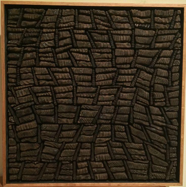 CONTRARY MOTION  by David Roach harred cedar, oil on board.                          36 x 36 cm $880  - SOLD -