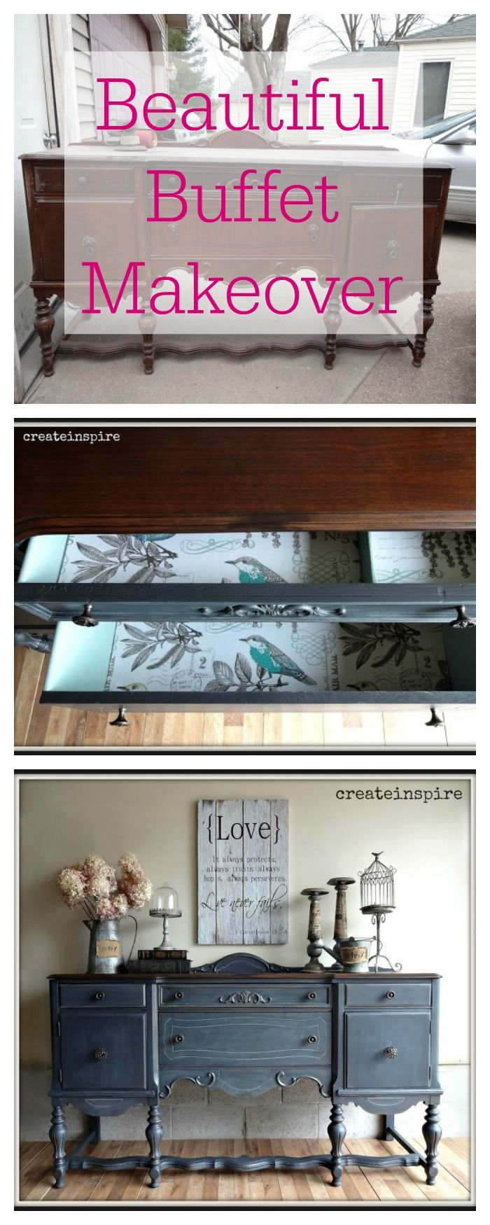 DIY - This buffet was brought home from a barn and given a beautiful makeover.:
