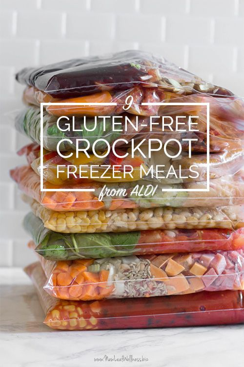 Check out these 9 Gluten-Free Crockpot Freezer Meals from ALDI that can be made in under 90 minutes! Includes free printable grocery list and menu plan!