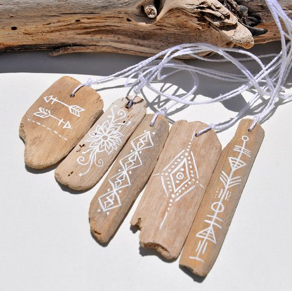 Painted Driftwood Boho Charms, Hand Painted Tribal Patterns, Boho Crafts, Jewelry Making Supplies, Eco Art