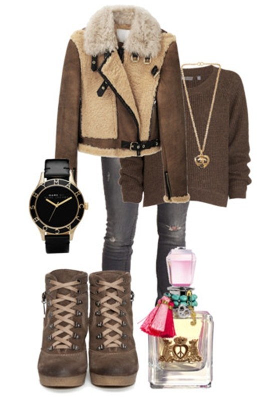 Brown And Tan Winter Outfit With Cute Trendy Suede Hiking Boots