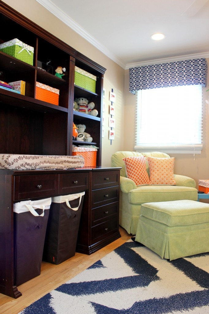 desk as changing table with hamper underneath. Just like the color combo...not planning a baby room!