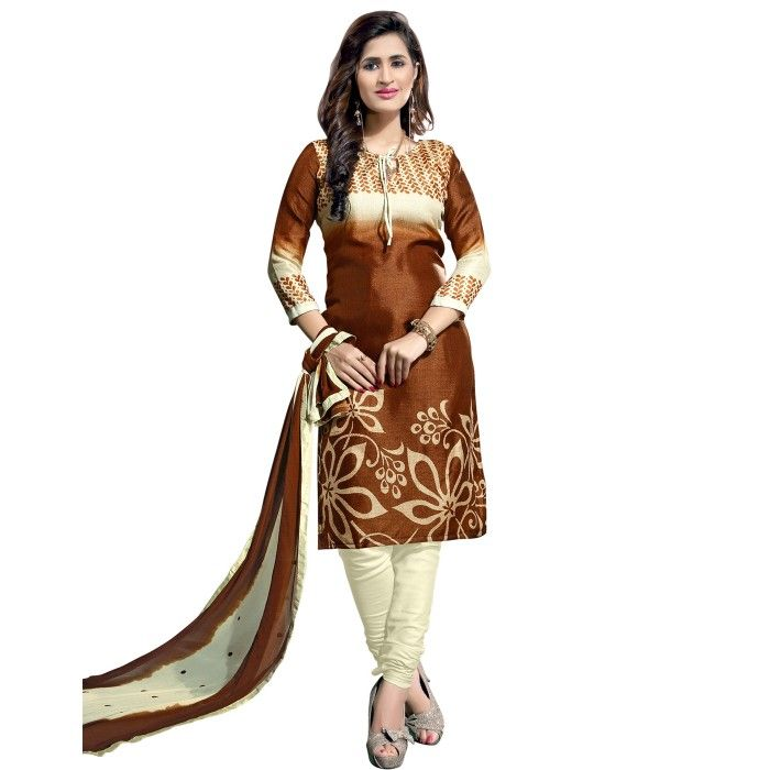 Awesome Brown and Off-White Coloured Printed Unstitched Bhagalpuri Silk Dress Material With Dupatta  On Smartdeals4u.com
