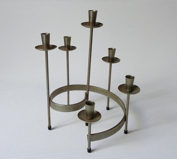 Swedish Vintage Candle Holder Scandinavian Metal Candle Holder For 6 Small Candlesticks Rusty Met Vintage Candle Holders Metal Candle Holders Chic Home Decor