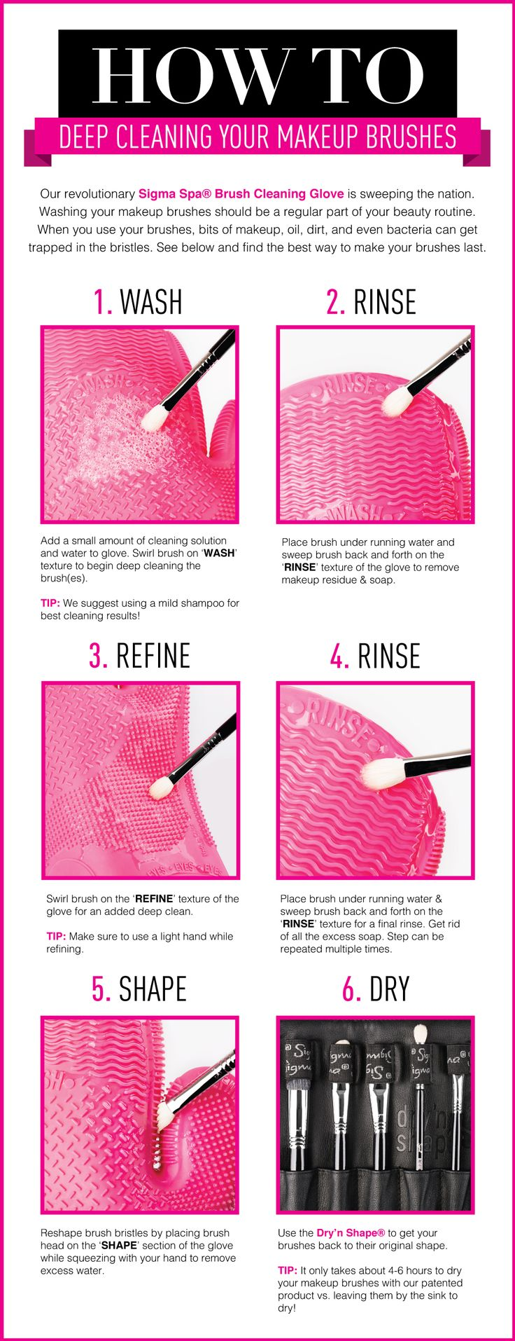 Learn how to clean your makeup brushes in 6 EASY steps with our well known Spa Brush Cleaning Glove!
