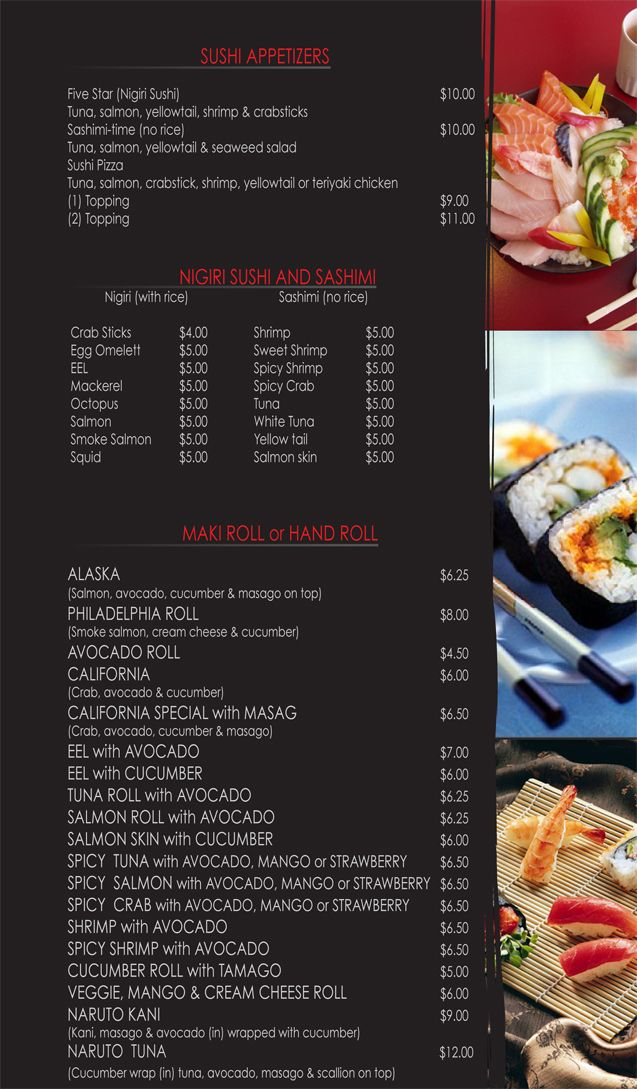 sushi menu | Menu Design | Menu Design, Restaurant menu ...