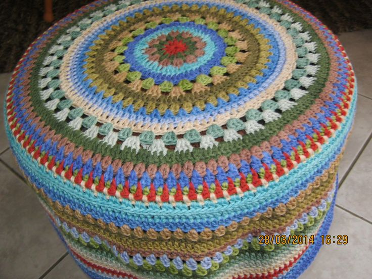 Foot stool cover using mandala pattern in Vinnis Nikkim cotton.