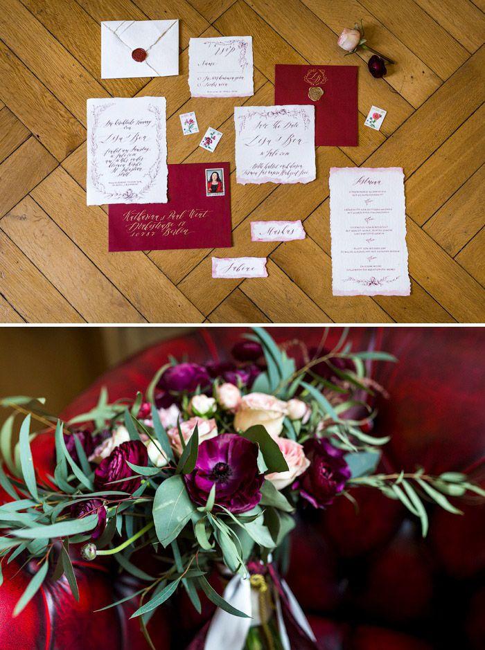 Hochzeit Inspiration in Gold und Rot | Hotel Atlantic Kempinski #Christina_Eduard_Photography #Hochzeit #Hotel_Atlantic_Kempinski #Hamburg #elegante_Hochzeit #Brautstrauß #Papeterie