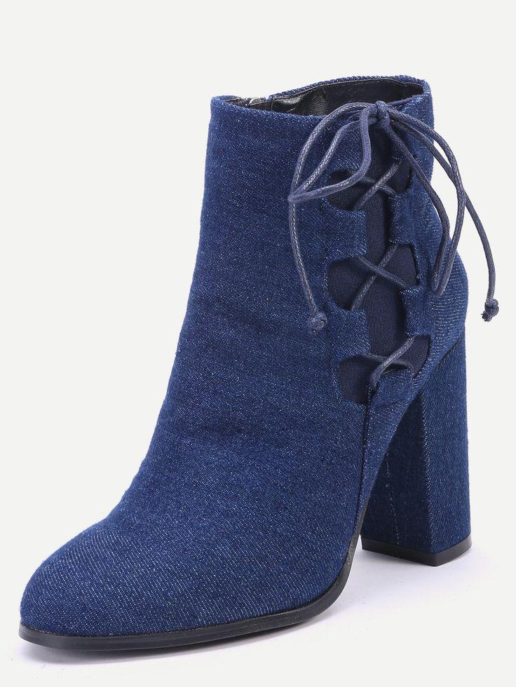 Джинсовые замшевые сапоги на высоких каблуках
