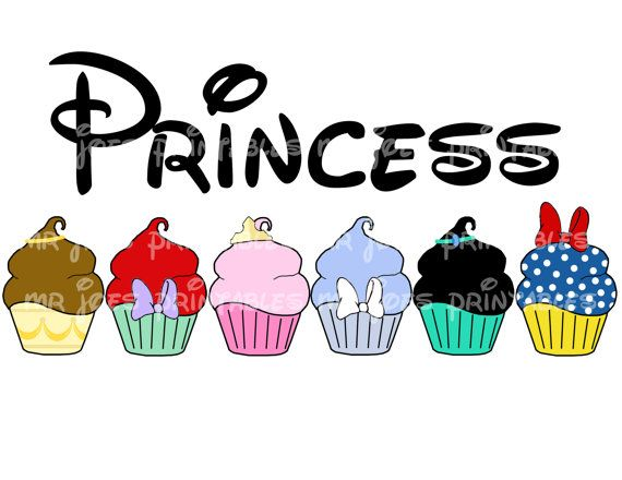 Princess Disney Cupcakes Snow White Printable Aurora Ariel DIY Disney Iron Transfer Pillowcase Ariel Jasmine Belle on Etsy, $5.00