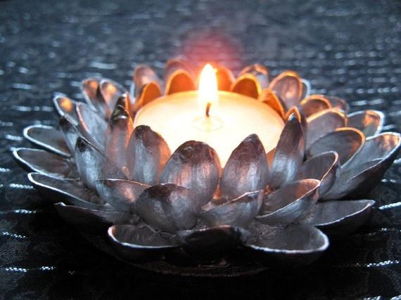 Pistachio Shell Lotus Blossom Tea Light by reloveddesigns on Etsy, $18.00
