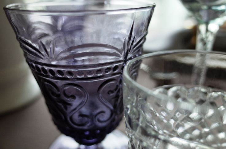 Violet glass with carving.