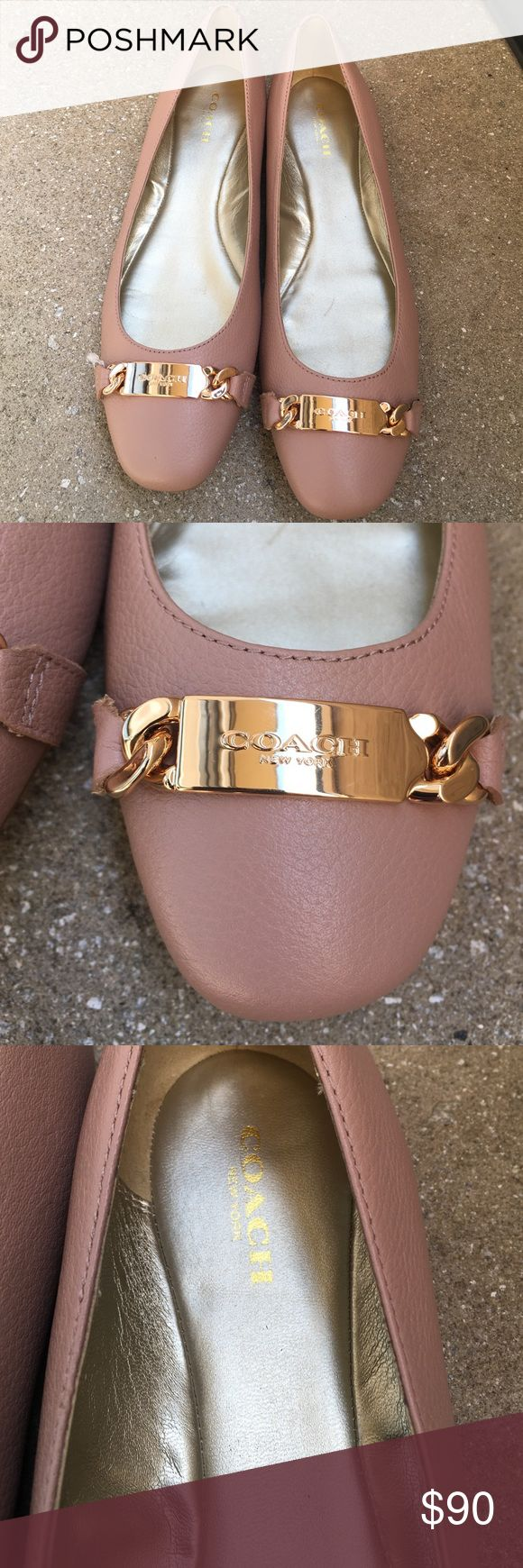 Coach shoes Brand new pair of Coach leather shoes . Missing box . Goldtone hardware . Color is blush Coach Shoes Flats & Loafers