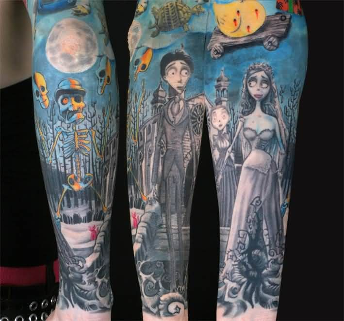 Awesome Grey Ink Corpse Bride Tattoo For Sleeve
