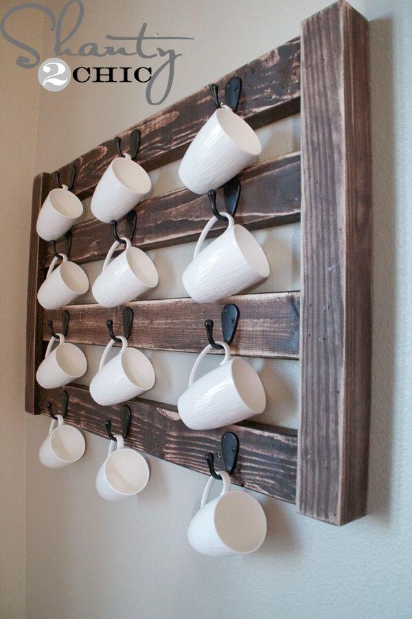 DIY Wall Mount Coffee Mug Hanger | Free Plan | rogueengineer.com #DIYwalldecor #decorDIYplans