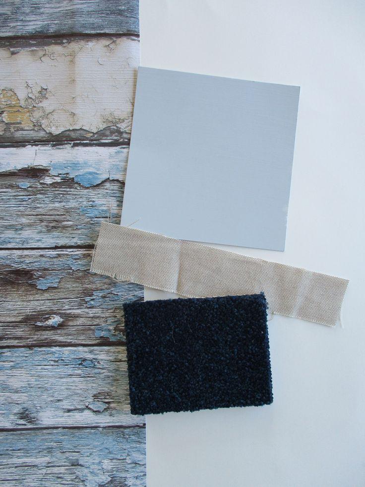 Resene 'Exposed' wallpaper behind bed. Resene 'Quarter Powder Blue' walls. Existing curtains. Dark blue carpet.