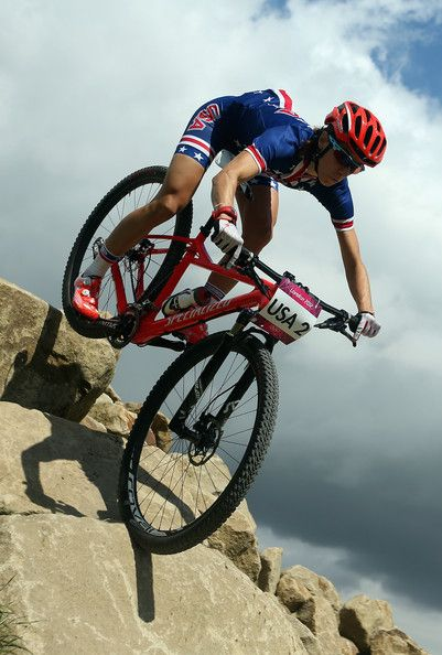 A rider from the USA iis seen in action during a Mountain Bike training session on Day 12 of the London 2012 Olympic Games at Hadleigh Farm ...