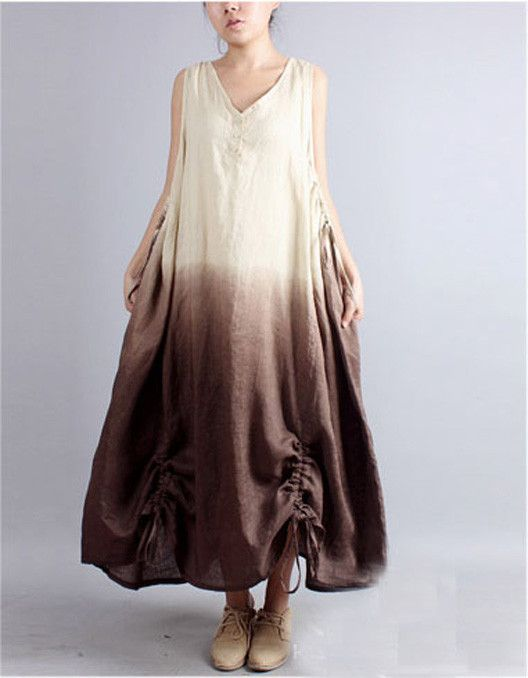 Linen Dress in Yellow and Brown