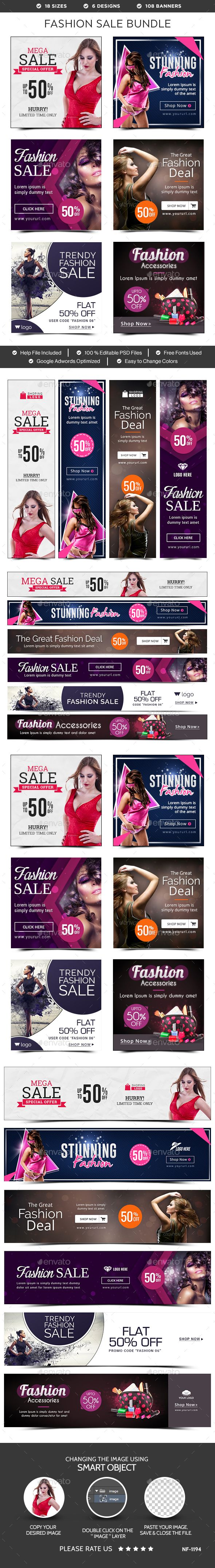Fashion Sale Banners Bundle  6 Sets — Photoshop PSD #clothing #animated banner • Available here → https://graphicriver.net/item/fashion-sale-banners-bundle-6-sets/15633748?ref=pxcr