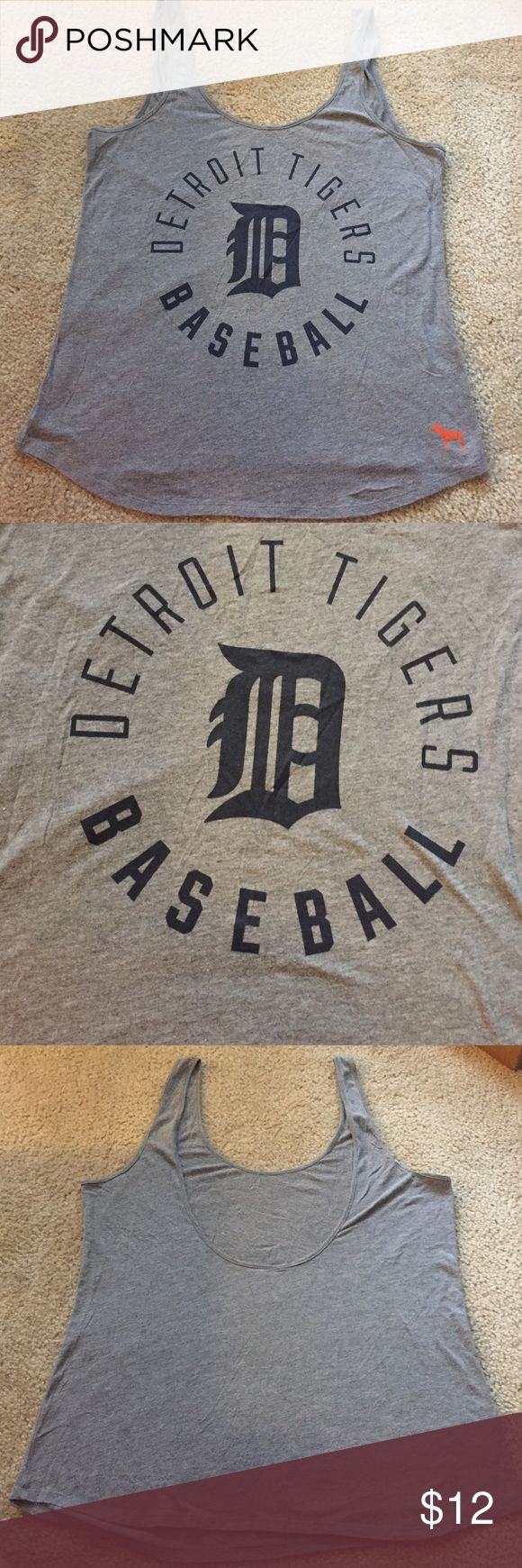 EUC MLB Tigers Tank Top Detroit Tigers Low Back Tank Top from PINK PINK Victoria's Secret Tops Tank Tops