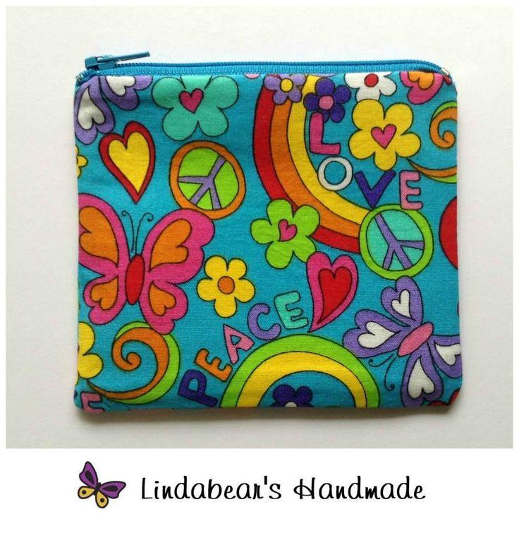 Made by Lindabears Handmade Rainbow Peace Purse