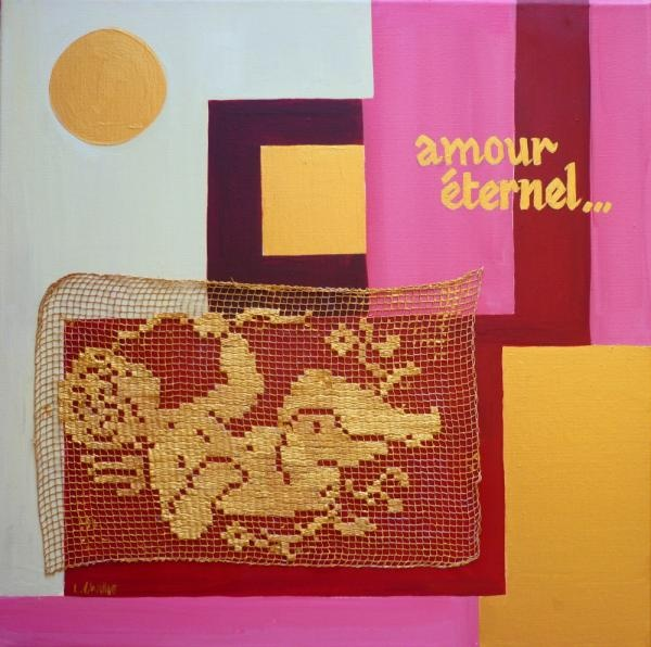 """""""AMOUR ETERNEL"""" (Eternal LOVE"""") The 2nd in a pair of collages I did in France using antique French lace, acrylics on canvas. You can buy it for AUD $650. www.lizchallisart.com"""