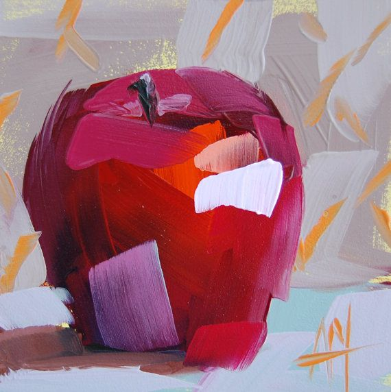 Apple no. 5 still life art print by Angela Moulton 5 x 5 inch prattcreekart