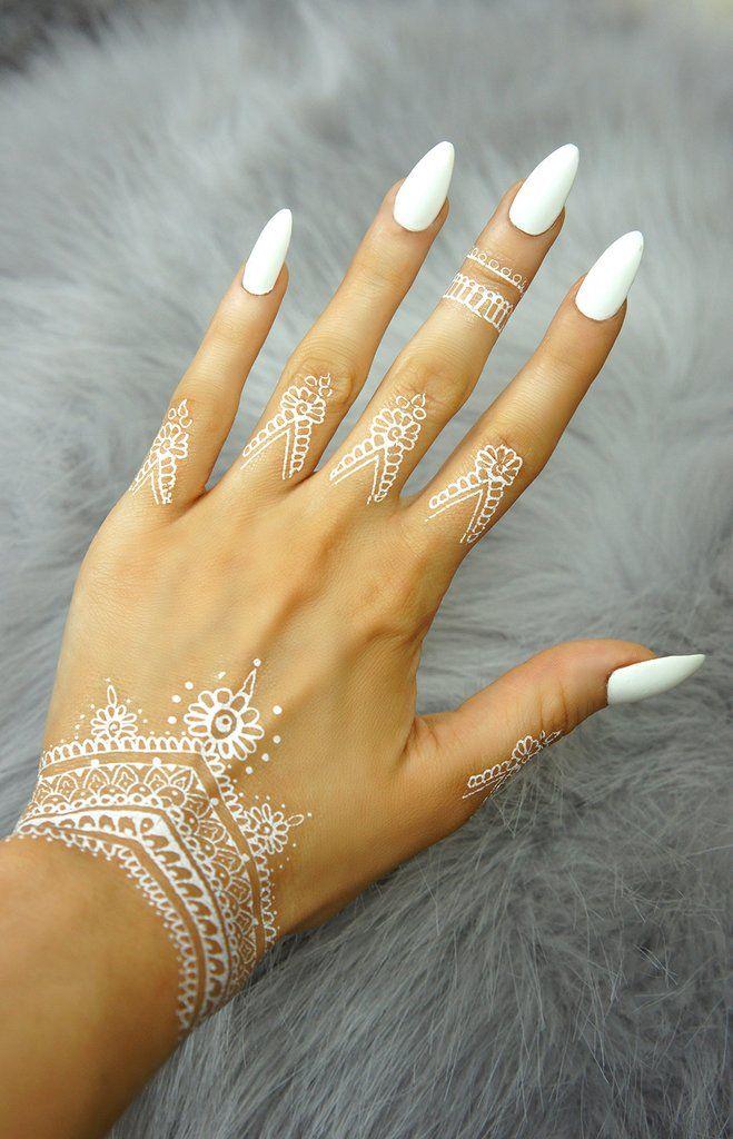 """Henna Tattoo Designs For Love: """"Henna Love Decoration"""" - White"""